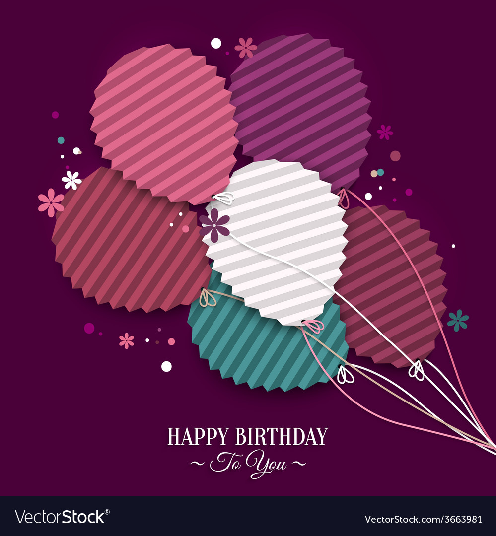 Birthday card with balloons in the style of flat vector | Price: 1 Credit (USD $1)