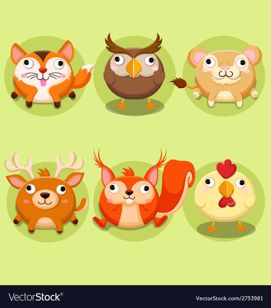 Cute animals icon set vector | Price: 1 Credit (USD $1)