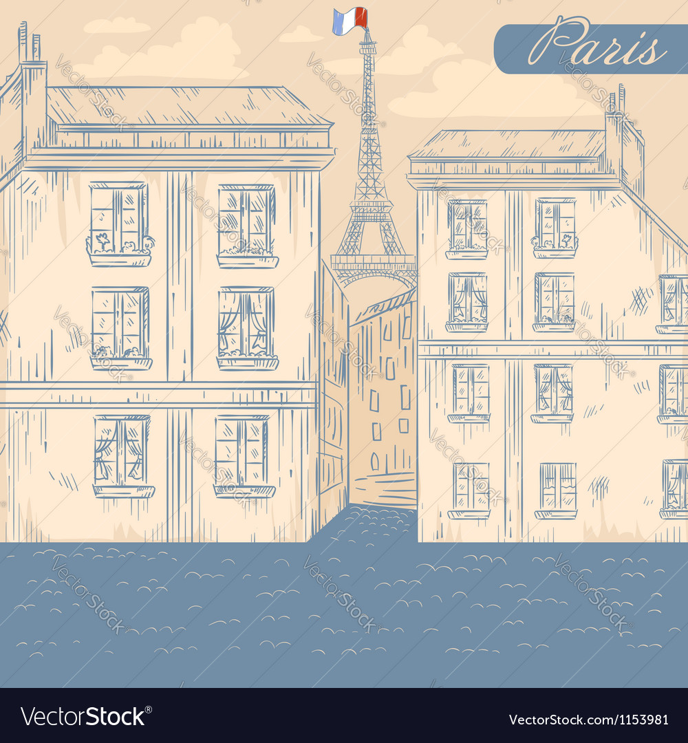 France paris street retro postcard vector | Price: 1 Credit (USD $1)