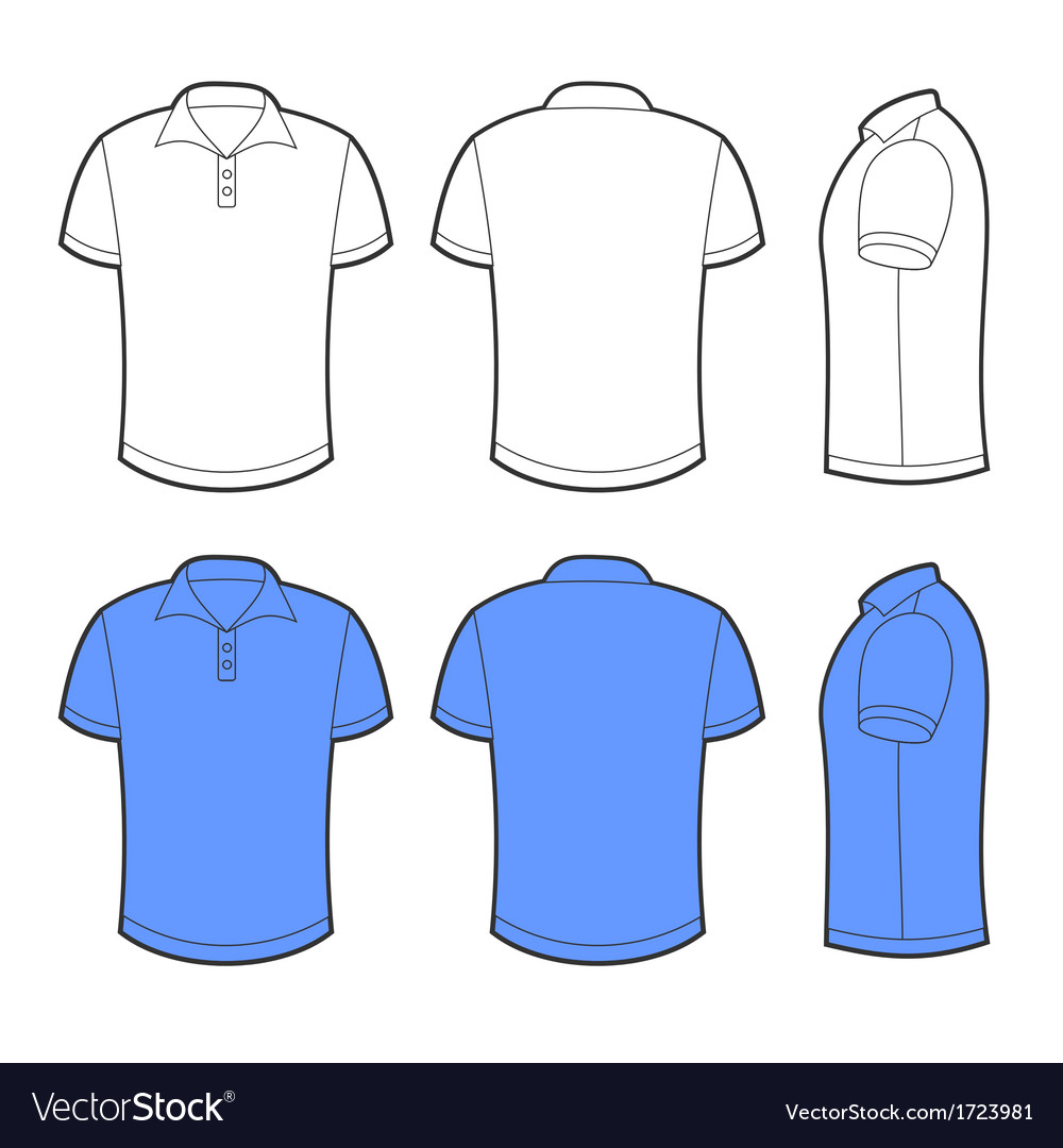 Front back and side views of blank polo vector | Price: 1 Credit (USD $1)