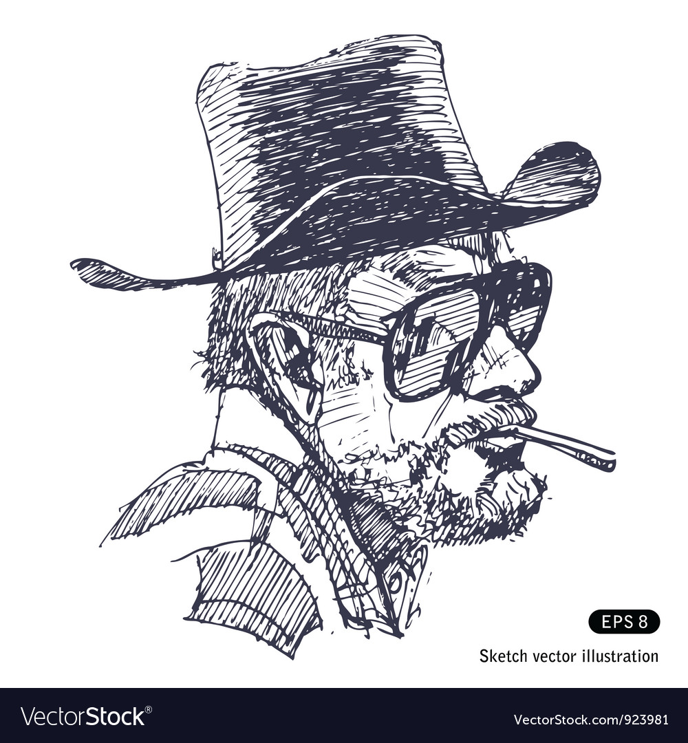 Man with hat sunglasses and beard smoking cigar vector | Price: 1 Credit (USD $1)