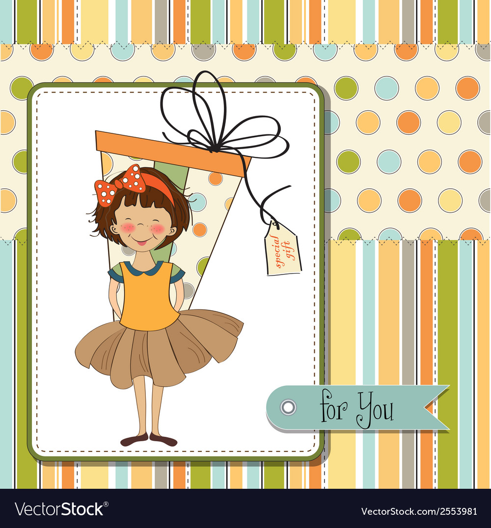 Pretty young girl she hide a big gift vector | Price: 1 Credit (USD $1)