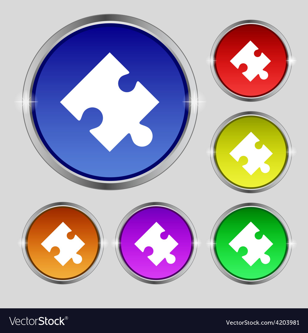Puzzle piece icon sign round symbol on bright vector | Price: 1 Credit (USD $1)