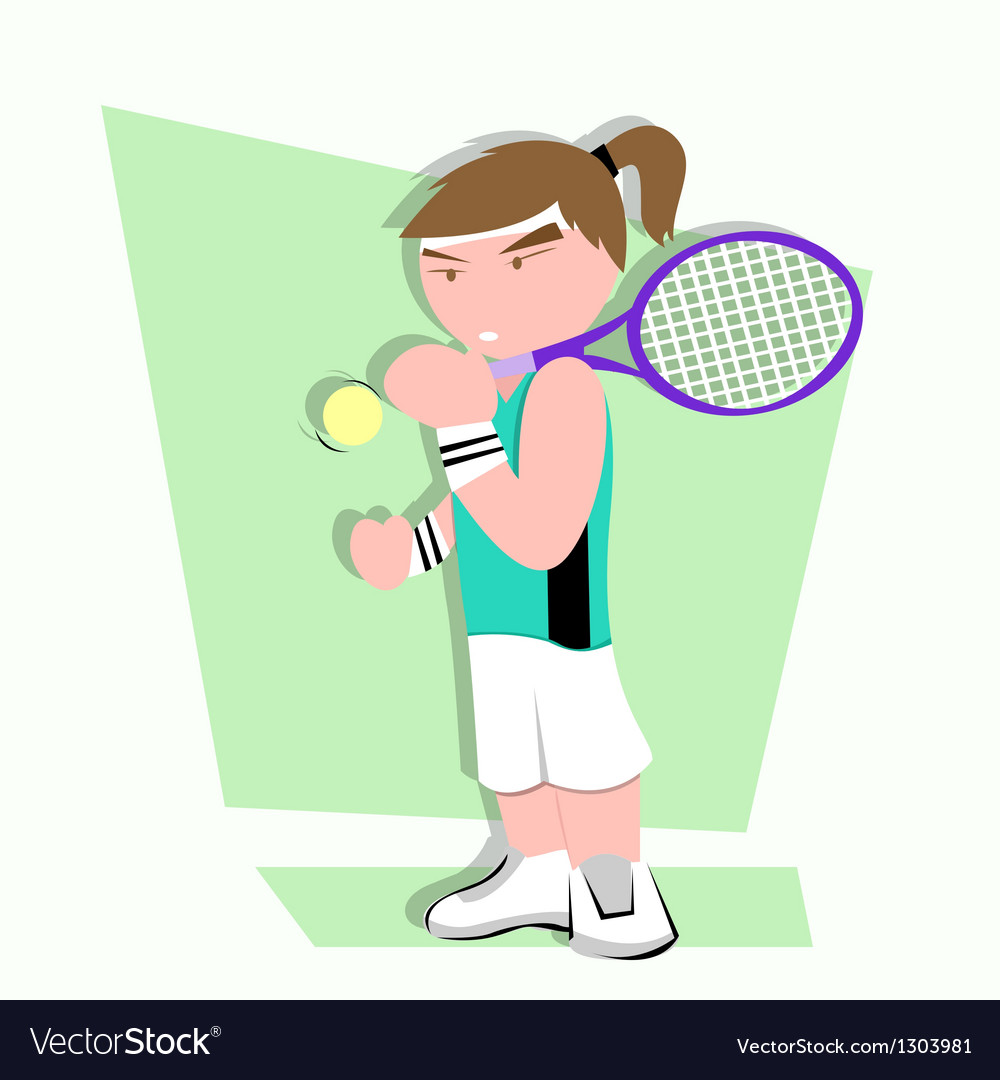Tennis player cartoon vector | Price: 1 Credit (USD $1)