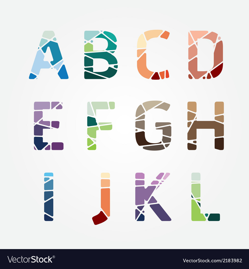 Alphabet modern color abstract style design vector | Price: 1 Credit (USD $1)