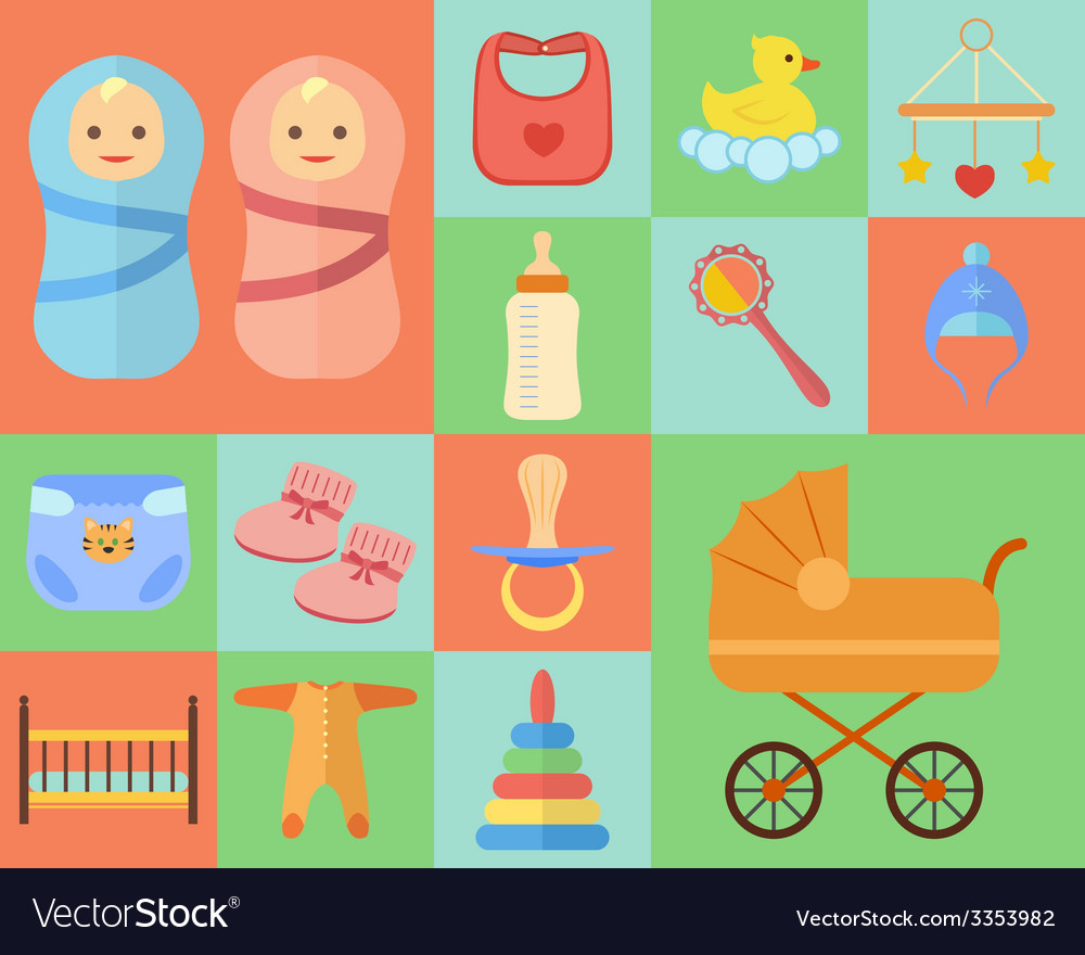 Baby icons set made in flat design vector | Price: 1 Credit (USD $1)