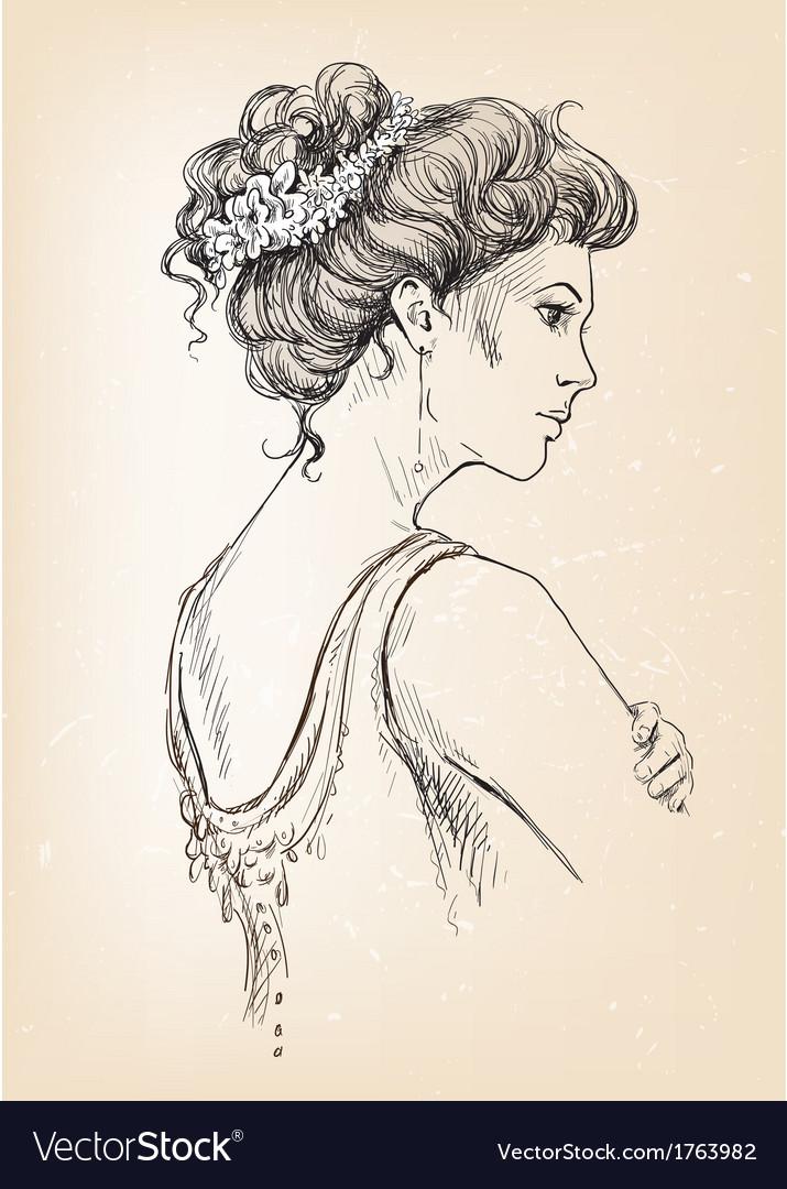 Beautiful girl bride bridal hair vector | Price: 1 Credit (USD $1)