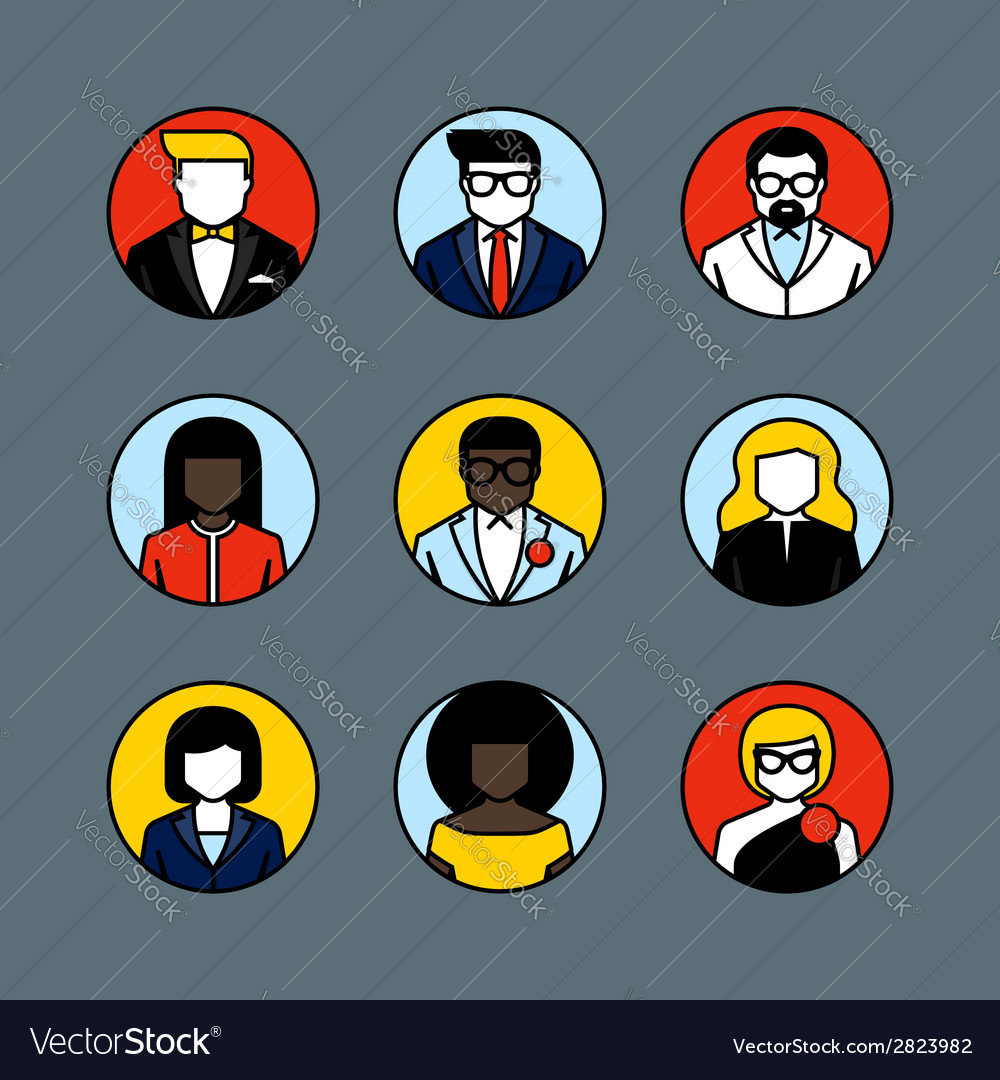 Flat line avatars male and female user icons vector | Price: 1 Credit (USD $1)