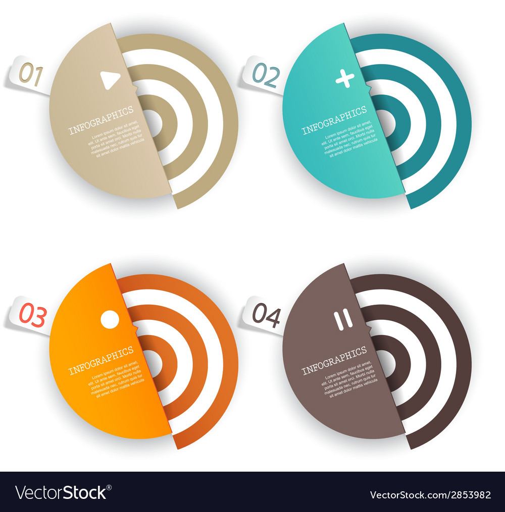 Four colored paper circles with place for your own vector | Price: 1 Credit (USD $1)