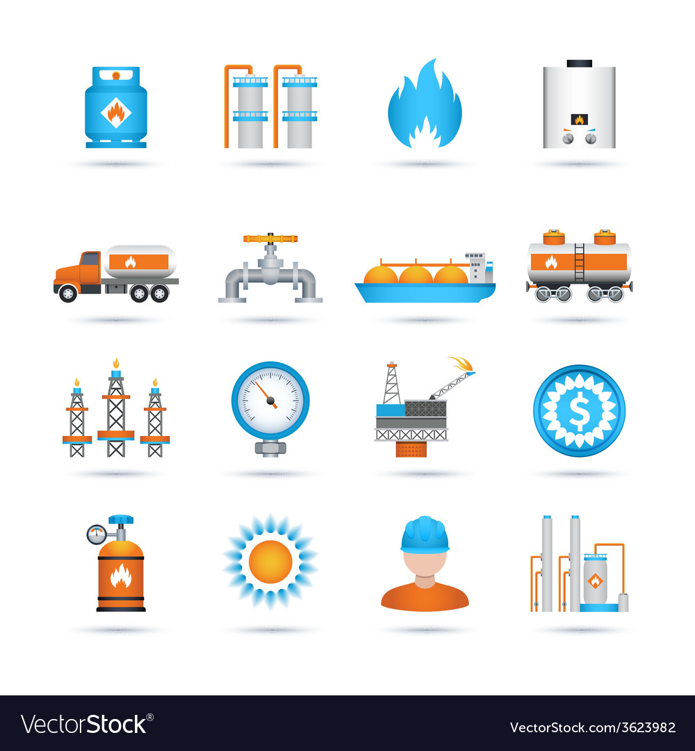 Gas icons set vector | Price: 1 Credit (USD $1)