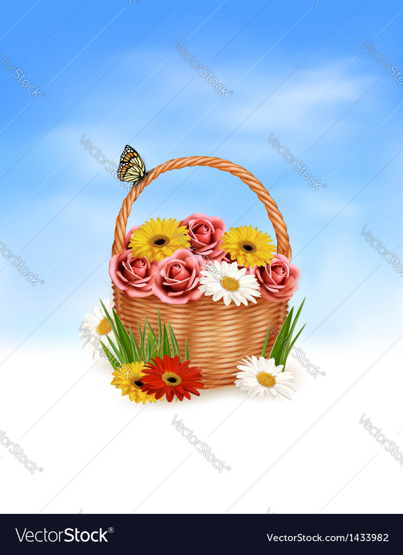 Holiday background basket full of flowers with a vector | Price: 1 Credit (USD $1)