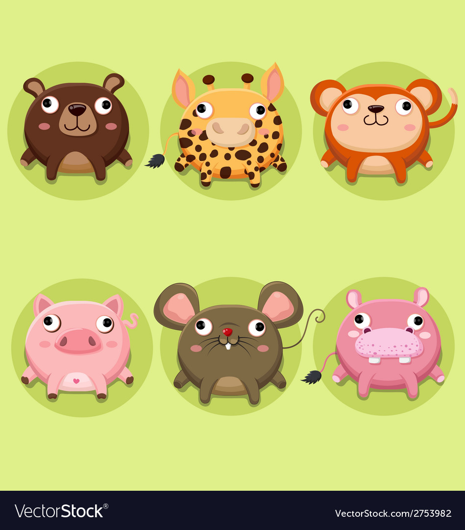 Set of cute animals icon vector | Price: 1 Credit (USD $1)