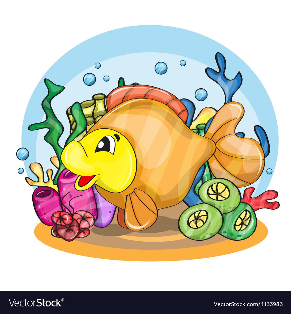 A happy goldfish vector | Price: 3 Credit (USD $3)