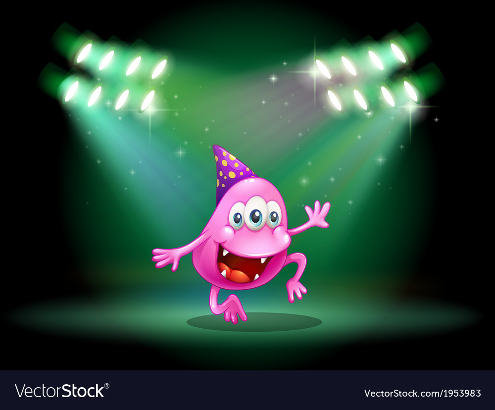 A monster dancing in the middle of the stage vector | Price: 1 Credit (USD $1)