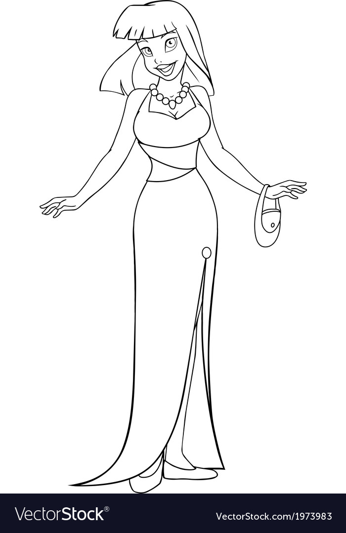 Asian woman in evening dress coloring page vector | Price: 1 Credit (USD $1)