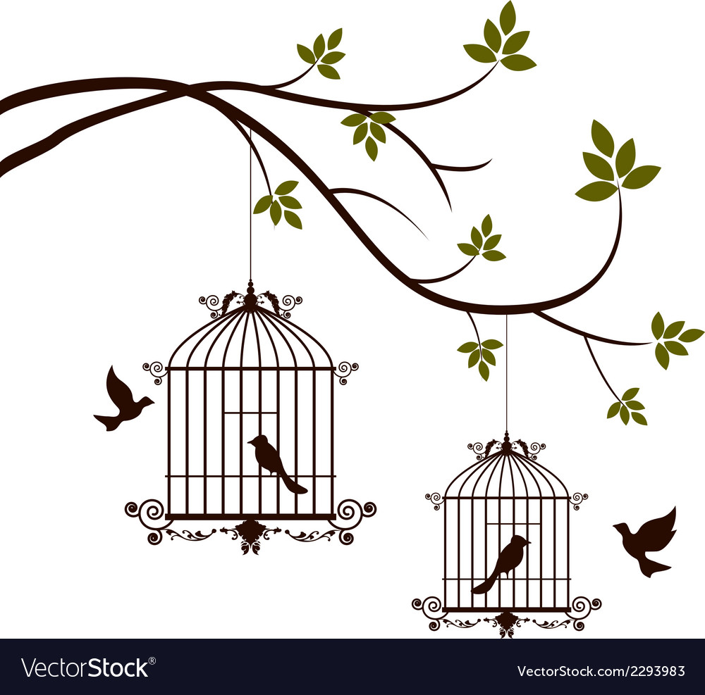 Beauty tree silhouette with birds flying and bird vector | Price: 1 Credit (USD $1)
