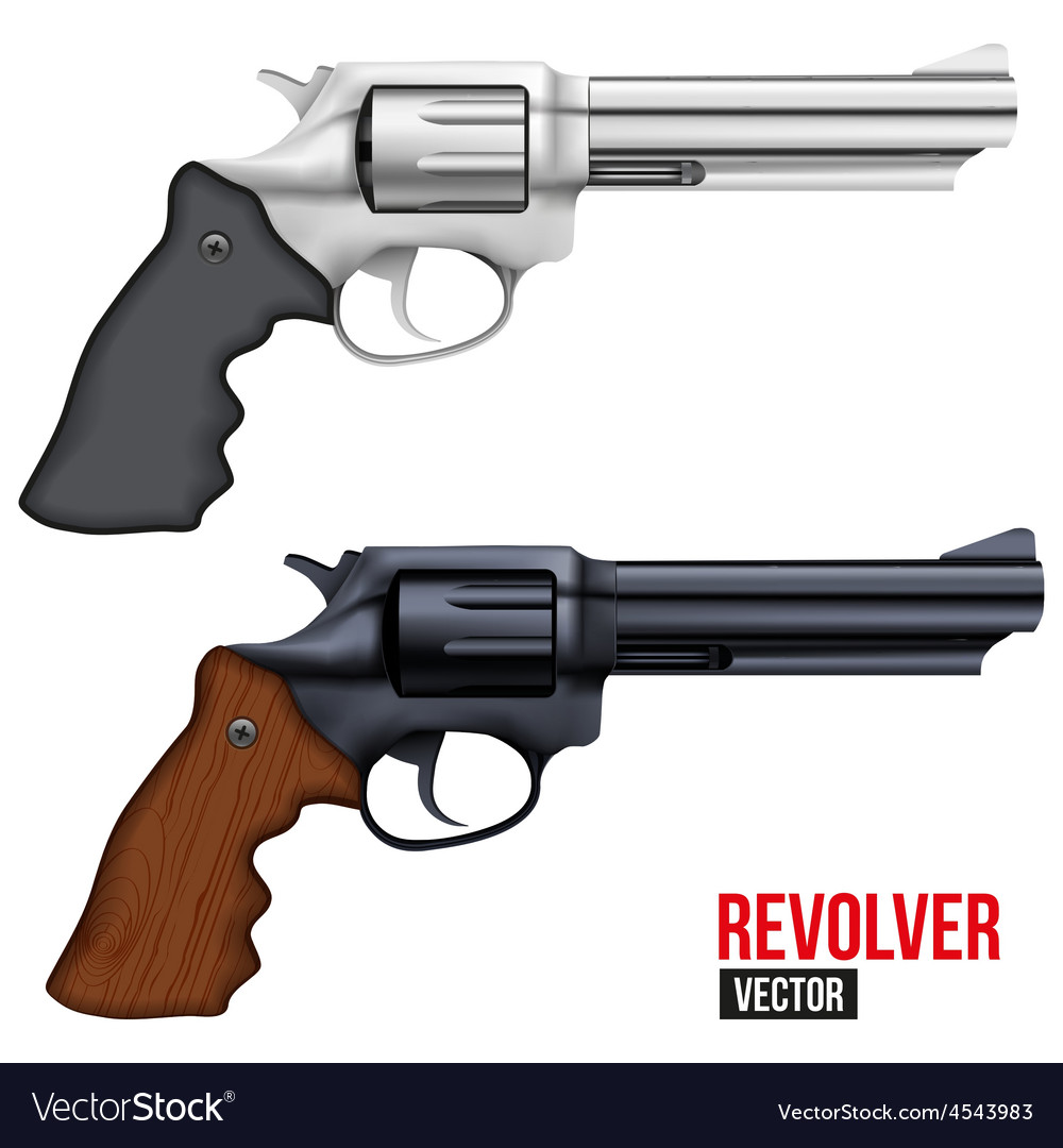 Big revolver silver bright metal vector | Price: 3 Credit (USD $3)