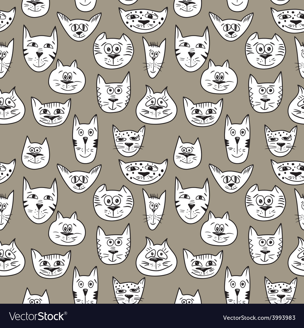 Brown pattern with cats vector | Price: 1 Credit (USD $1)