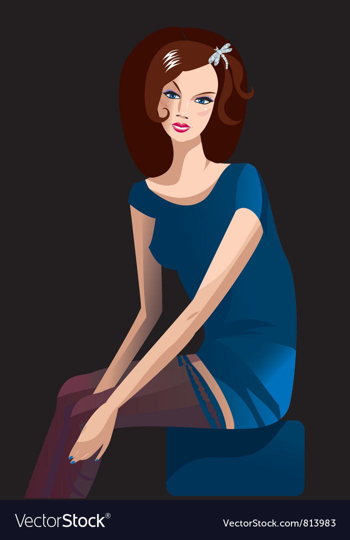 Brunette girl vector | Price: 3 Credit (USD $3)