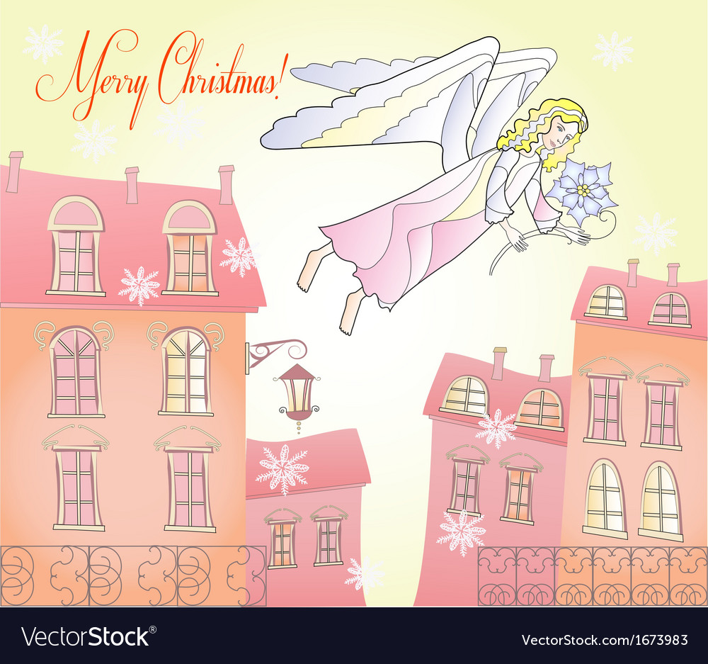 Card with christmas angel at the city vector | Price: 1 Credit (USD $1)