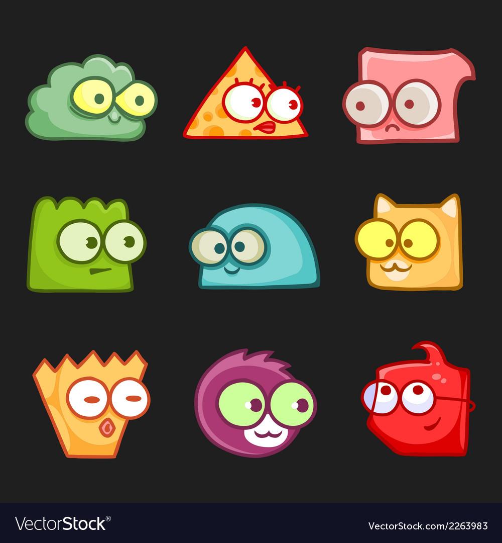 Cartoon funny monsters set vector | Price: 1 Credit (USD $1)