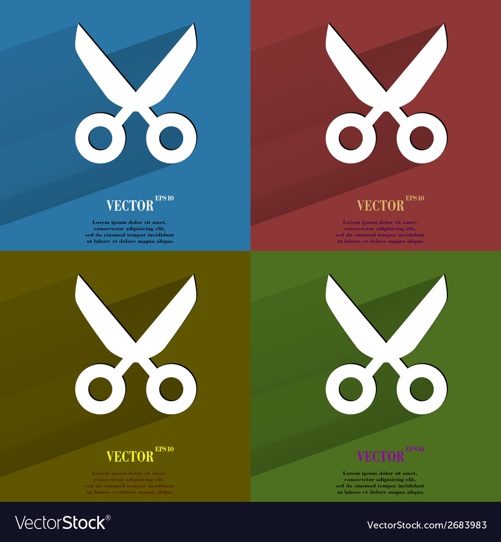 Color set scissors flat modern web button with vector | Price: 1 Credit (USD $1)