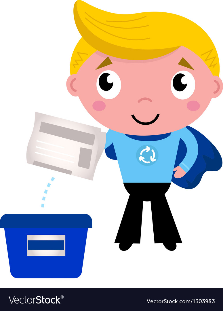 Cute recycle superhero boy separating garbage vector | Price: 1 Credit (USD $1)