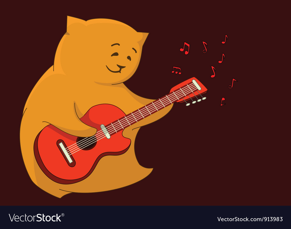 Red cat guitarist vector | Price: 1 Credit (USD $1)