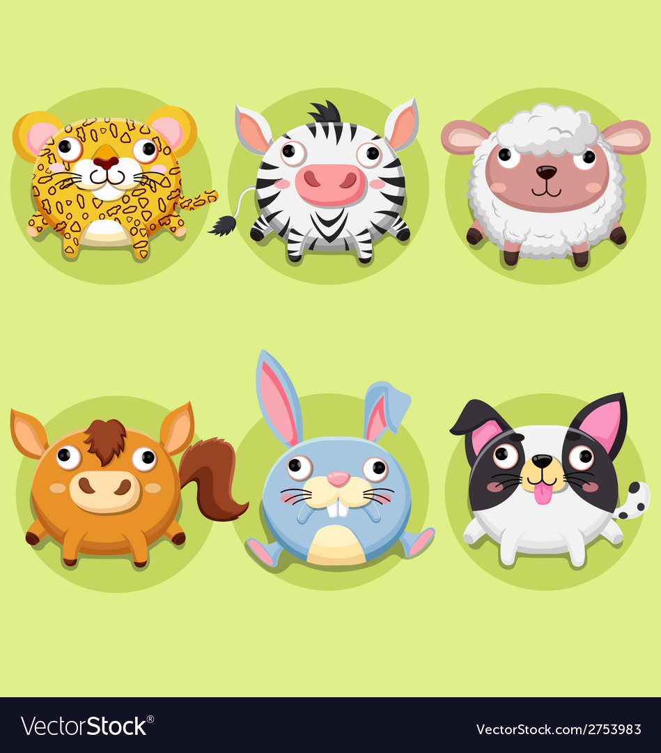 Set wildlife animals cute vector | Price: 1 Credit (USD $1)