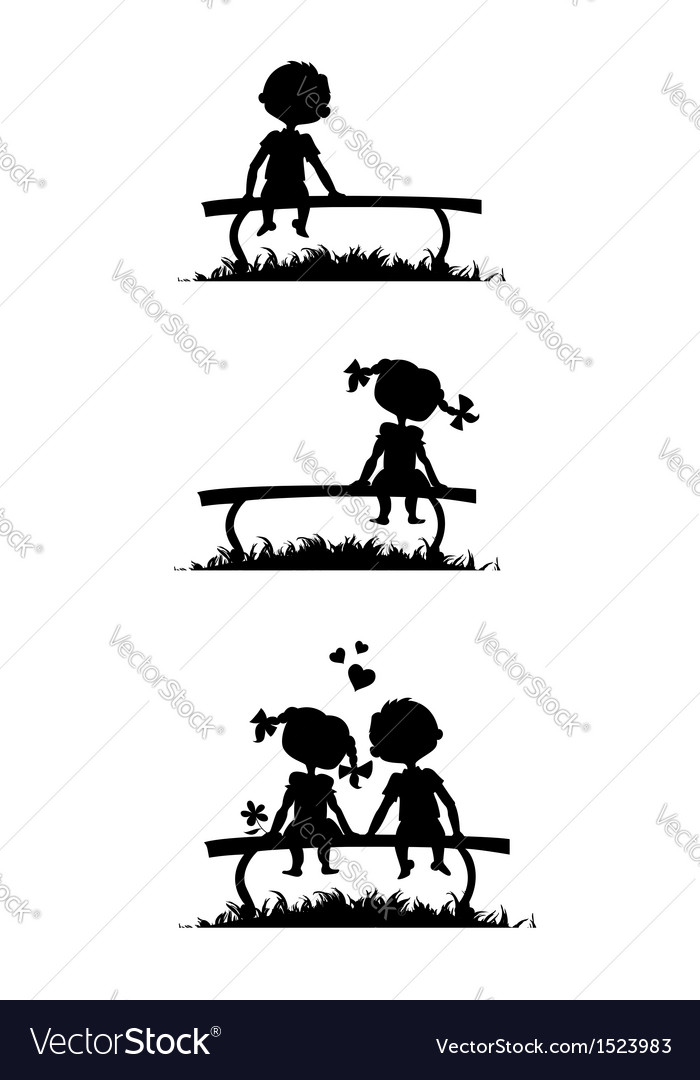 Silhouettes of boy and girl sitting on a bench vector | Price: 1 Credit (USD $1)
