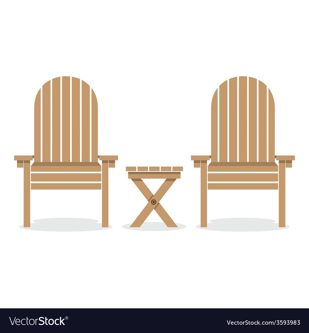 Wooden garden chairs and table vector | Price: 1 Credit (USD $1)