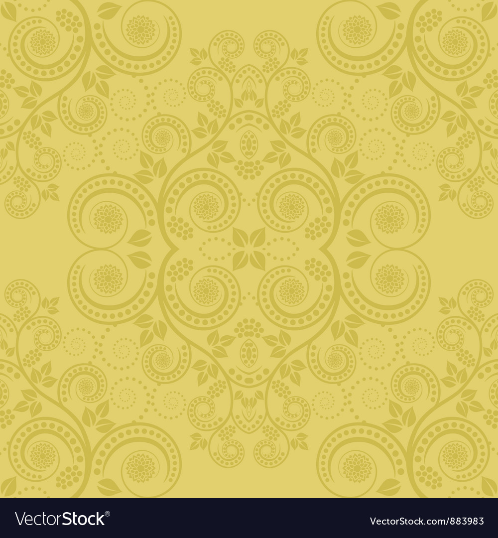 Yellow background with floral decoration vector | Price: 1 Credit (USD $1)