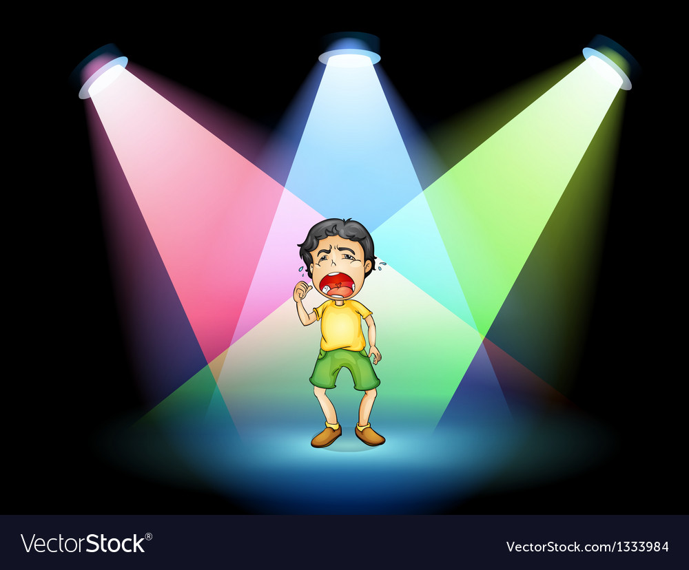 A boy crying at the stage vector | Price: 1 Credit (USD $1)