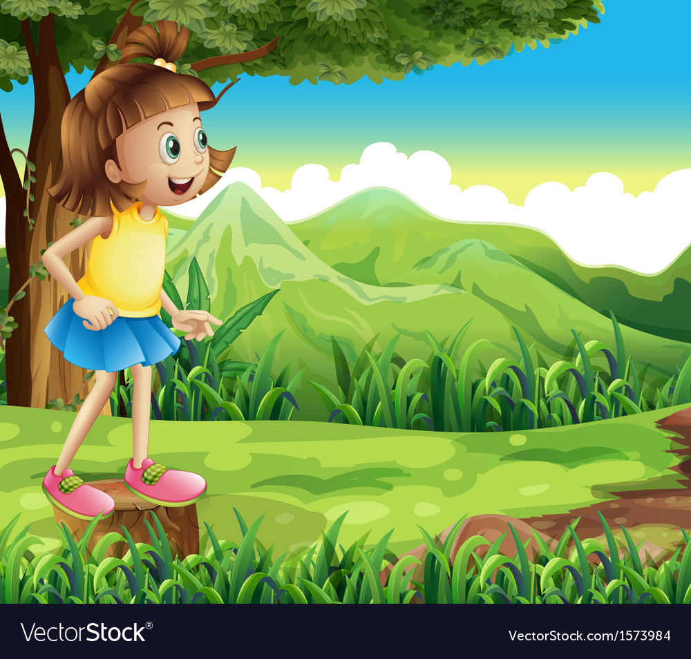 A happy girl standing above a stump at the hill vector | Price: 3 Credit (USD $3)