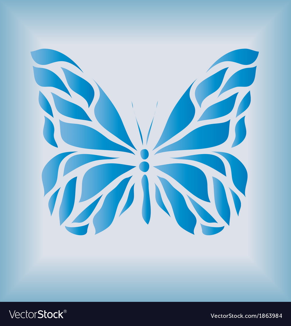 Beautiful vintage blue butterfly vector | Price: 1 Credit (USD $1)