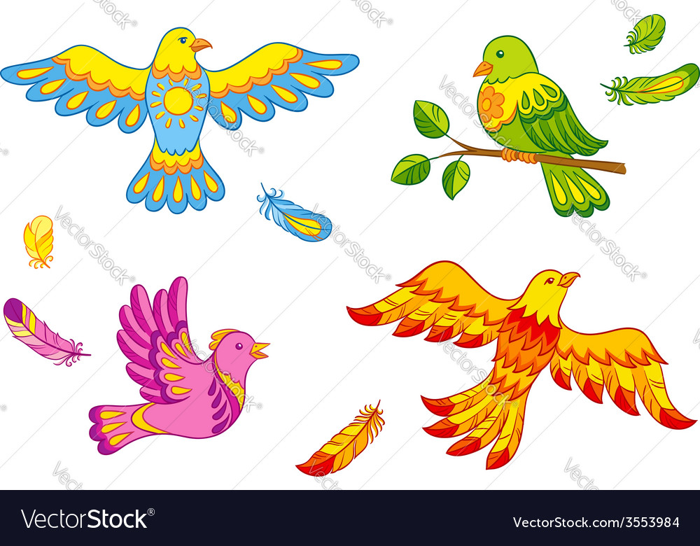 Fantasy birds and feathers vector | Price: 1 Credit (USD $1)