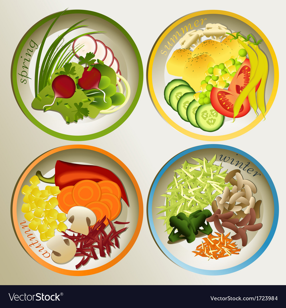 Four seasons plate vector | Price: 1 Credit (USD $1)