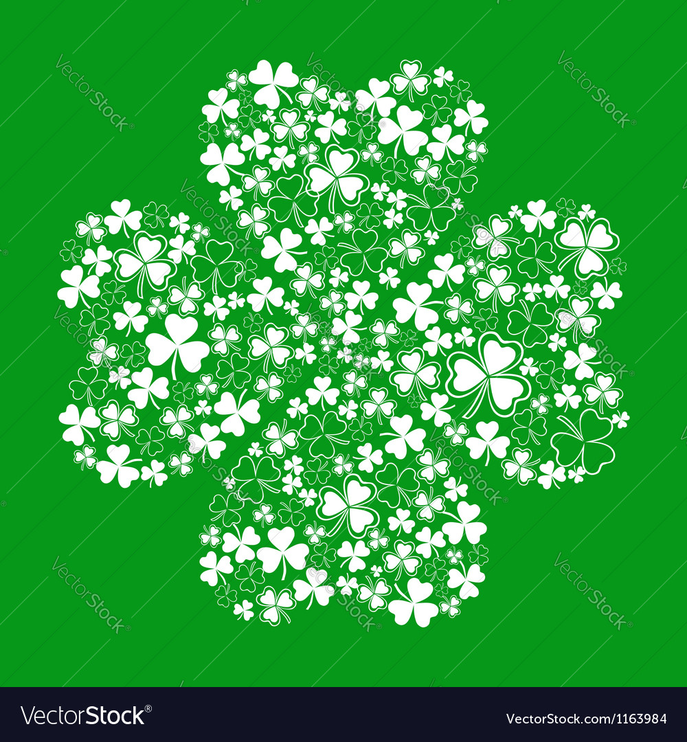 Green greeting card with clover shamrock vector | Price: 1 Credit (USD $1)