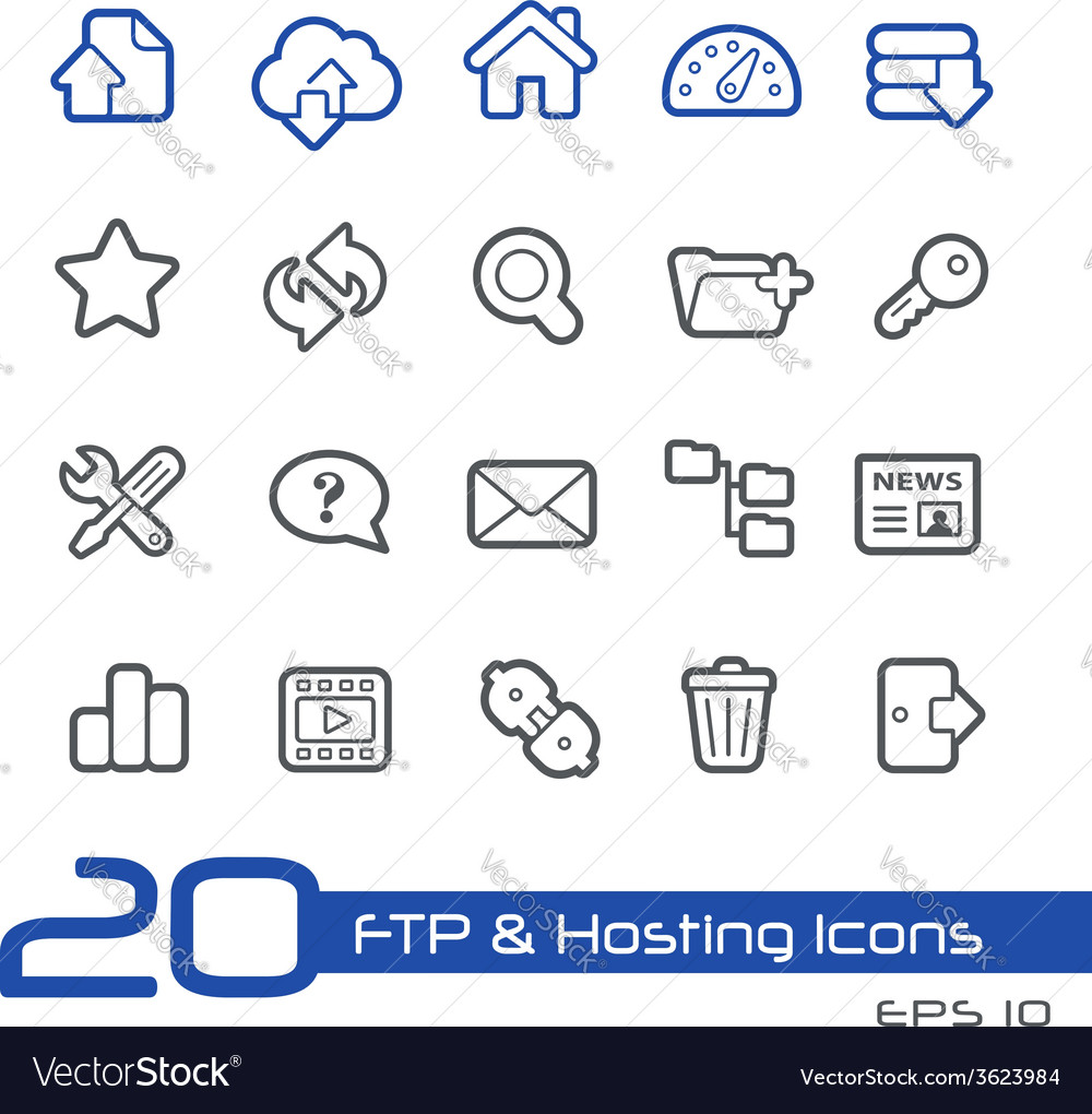 Hosting icons outline series vector | Price: 1 Credit (USD $1)