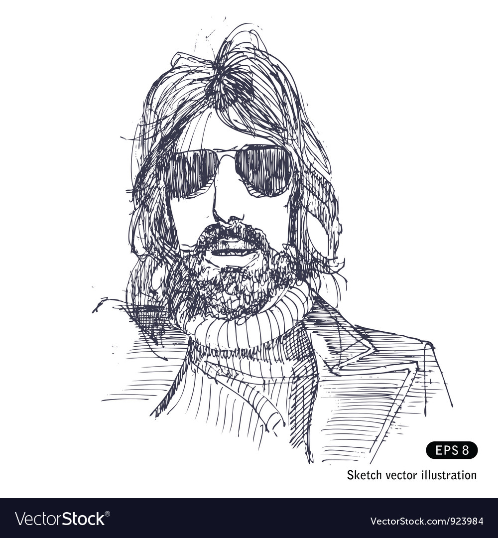 Man with long hair and sunglasses vector | Price: 1 Credit (USD $1)
