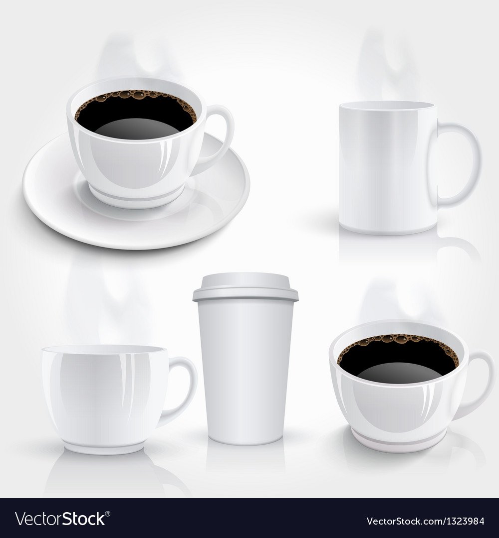 Set of coffee cups vector | Price: 3 Credit (USD $3)