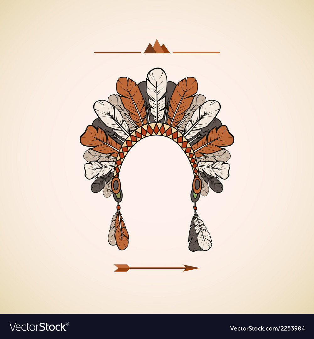 Traditional native american headdress background vector | Price: 1 Credit (USD $1)