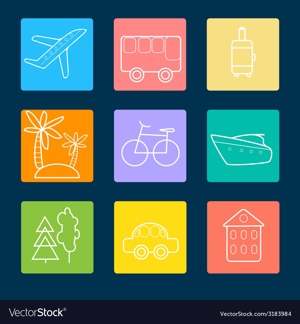 Travel flat icons stock vector | Price: 1 Credit (USD $1)