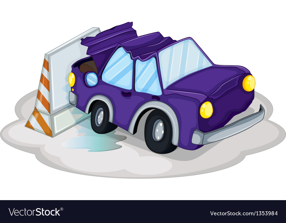 Violet car accident vector | Price: 1 Credit (USD $1)
