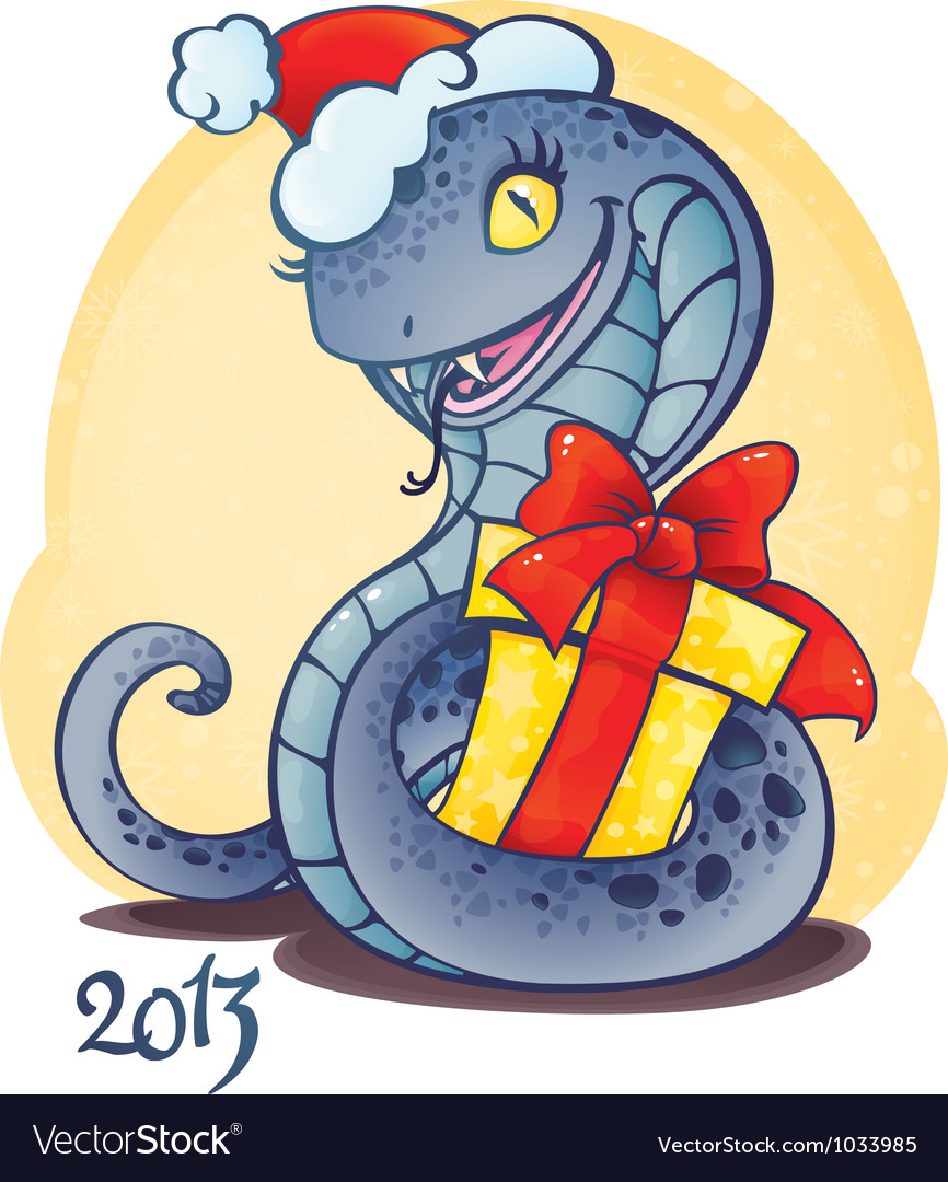 Adorable little snake with christmas gift vector | Price: 1 Credit (USD $1)