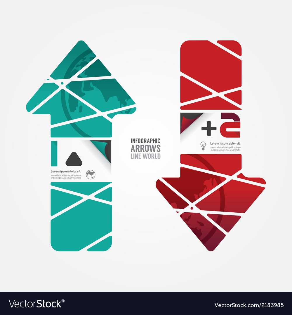 Arrows line world red and terqoice color vector | Price: 1 Credit (USD $1)