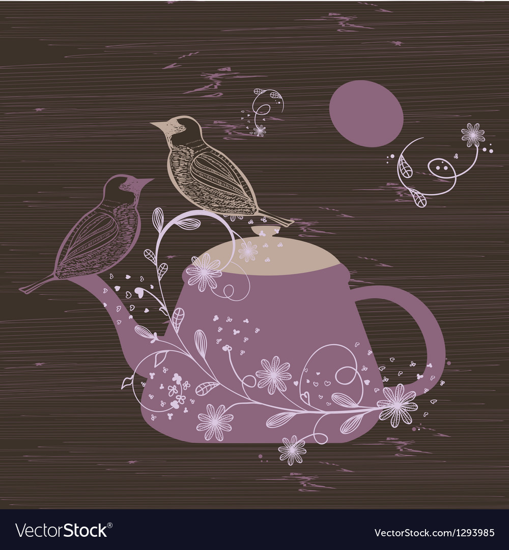 Birds couple on the teapot hand drawn vector | Price: 1 Credit (USD $1)