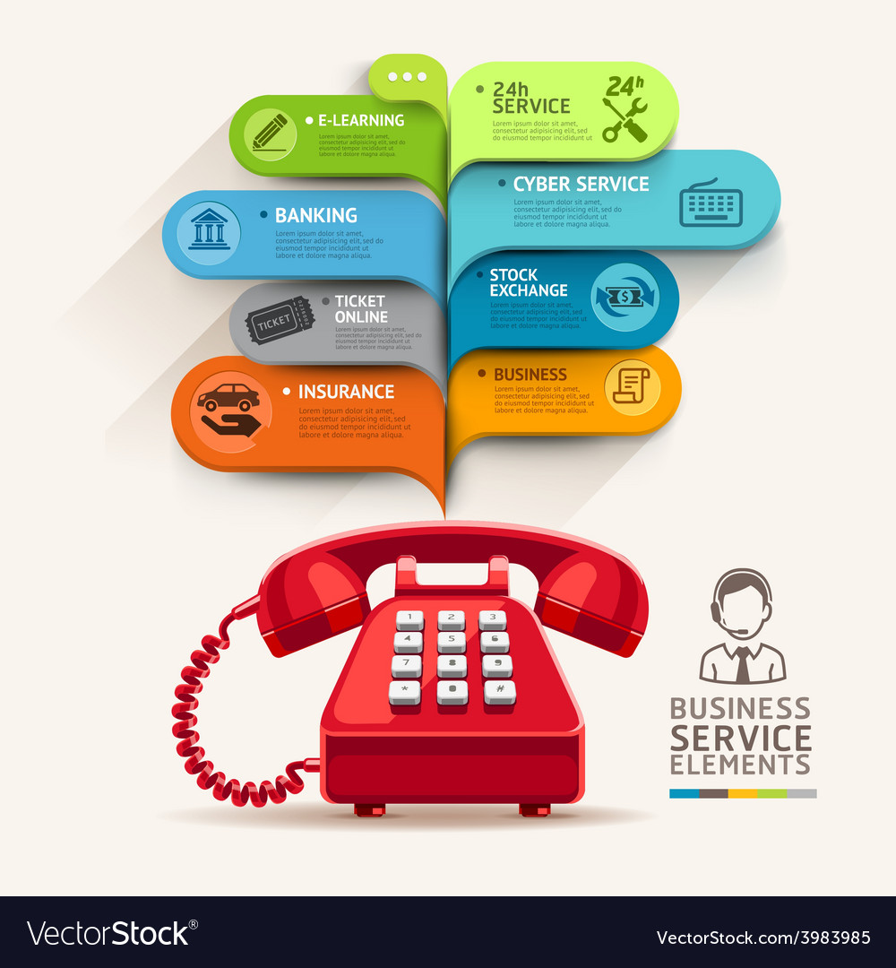Business service icons and telephone with bubble vector | Price: 1 Credit (USD $1)
