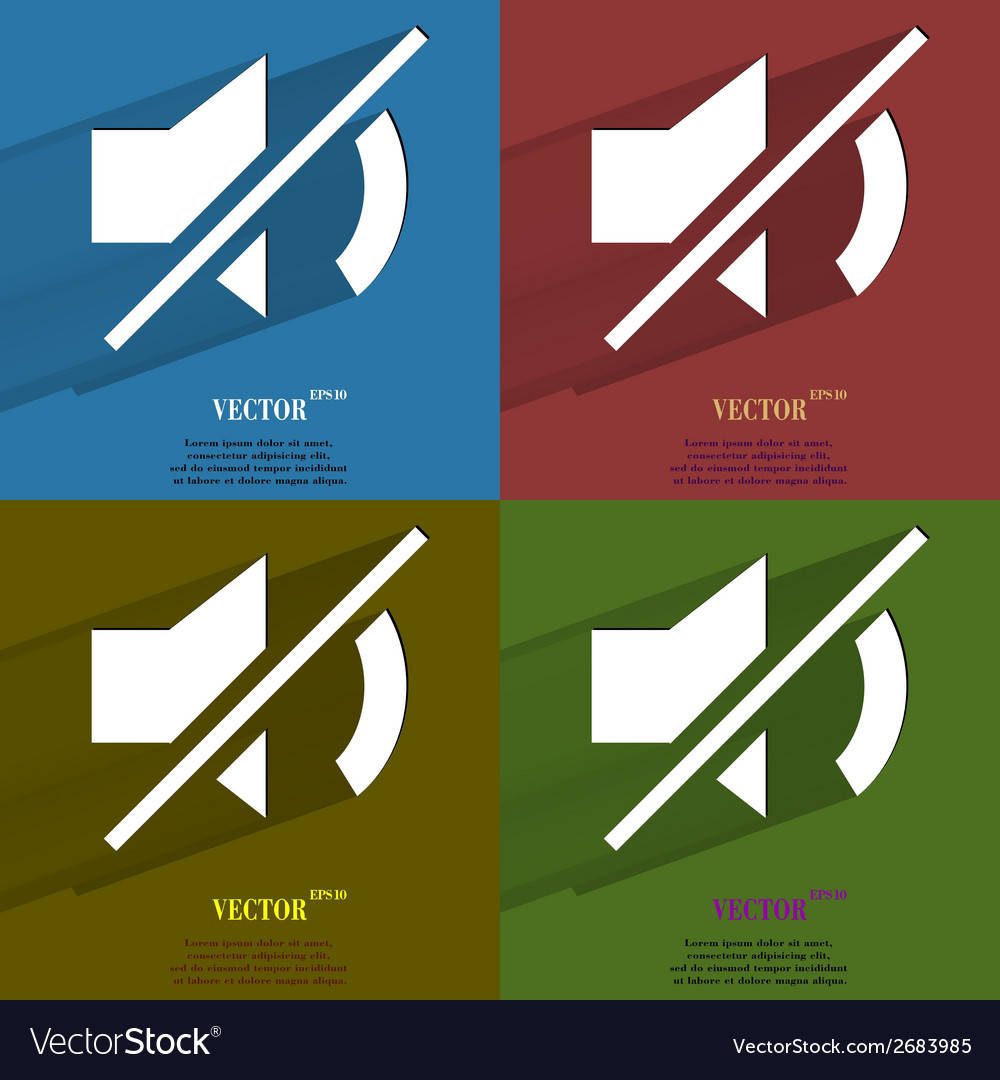 Color set mute sound flat modern web button with vector | Price: 1 Credit (USD $1)