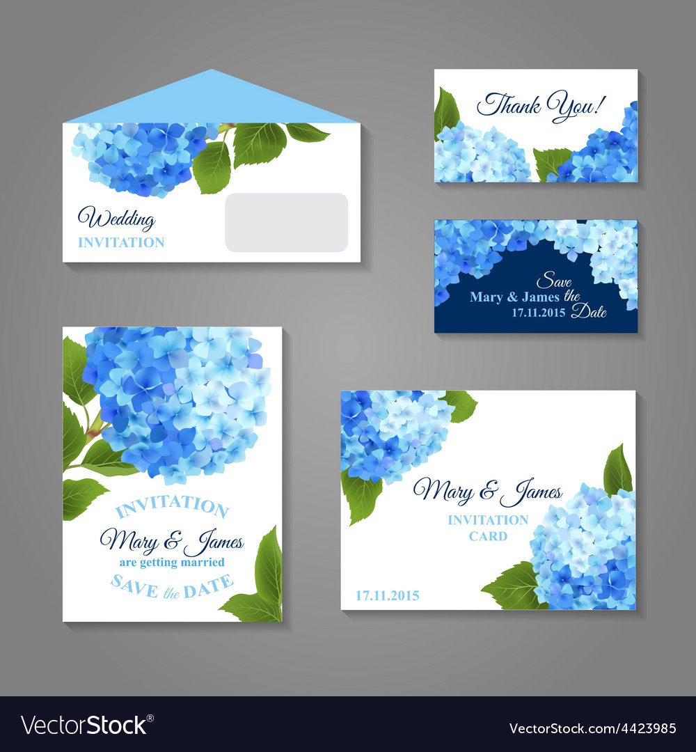 Hydrangea invitations set vector | Price: 1 Credit (USD $1)